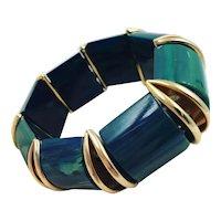 Blue Moon Chunky Bakelite Stretch Bracelet