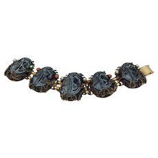 Selro Selini Egyptian Revival Pharaoh Head Bracelet