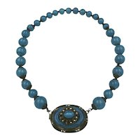 Czech Blue Glass Pendent Necklace