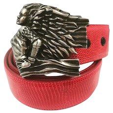 Barry Kieselstein-Cord Angel Grand Sterling Belt Buckle and Lizard Belt