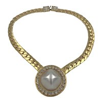 Bold Gold Tone Faux Pearl Rhinestones Necklace