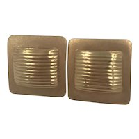 Textured Square 14k Pierced Earrings