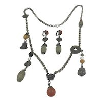 Ben Amun Chinese Influenced Necklace and Earrings Set