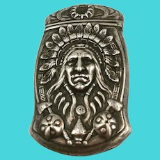 Indian Chief  Sterling Silver Match Safe by Gorham c1890-1905.