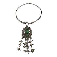 Rachel Gera Modernist Israeli Designer Sterling and Aventurine Statement Necklace
