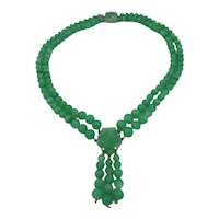 Fabulous Green Glass Necklace with Pressed Glass Centerpiece