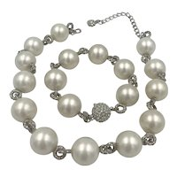 Kenneth Jay Lane Chunky Faux Pearls and Rhinestone Necklace and Bracelet