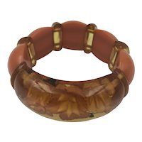 Reverse Carved and Painted Apple Juice Stretch Bakelite Bracelet