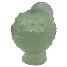 Lalique Puffer Fish Blowfish Art Glass Signed Paperweight