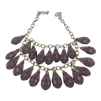 Unsigned Miriam Haskell Gold Tone Metal and Pressed Glass Dangles Necklace