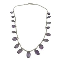Edwardian Seed Pearls Amethysts Drops Necklace