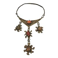 Pal Kepenyes Brutalist Brass and Mexican Opals Statement Necklace