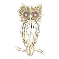 Mid Century Modern 14k Gold Owl Brooch