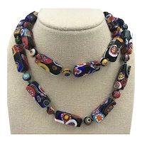 Millefiori Venetian Glass Unusual Rectangular Beads Necklace