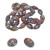 Millefiori Venetian Glass Beads Necklace