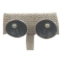 Ed Levin Mid Century Modern Sterling Pearl Earrings