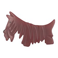 Carved Red Bakelite Scottie Dog Brooch Pin