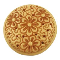 Heavily Carved Yellow Bakelite Brooch Pin