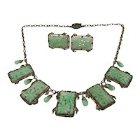 Chinese Carved Jade Bib Necklace & Earrings Set in Gilt Silver
