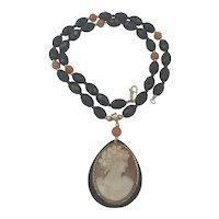 Shell Cameo Onyx & Carnelian Beads Necklace
