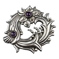 Early Large Mexican Sterling and Amethysts Brooch Pin
