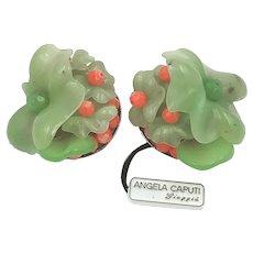 Angela Caputi Resin Clip Earrings