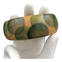 Bakelite Bracelet Sponge Painted with Green Dots