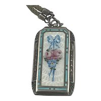 Edwardian Sterling and Enamel Locket Pendant
