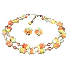 Double Strand Spring Colors Glass Necklace and Earrings W. Germany