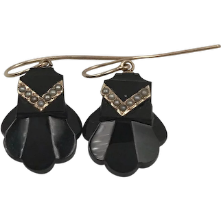 Victorian Onyx Seed Pearls & 14k Gold Earrings