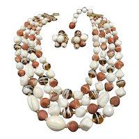 Hattie Carnegie Multi Strand Necklace and Earrings Set