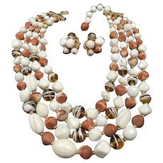 Hattie Carnegie Multi Strand Necklace and Earrings Set