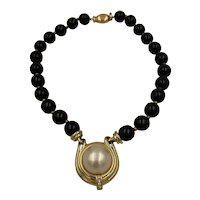 Ciner Faux Onyx & Pearl Pendent Choker Necklace
