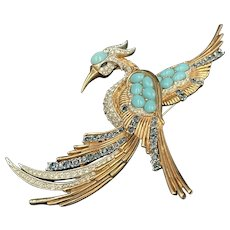 Marcel Boucher Sapphire and Turquoise Cabochons Bird of Paradise Brooch Pin