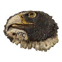 Native American Richard Terry Chrisjohn Carved Eagle Head Antler Buckle