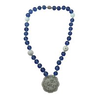 Carved Jade and Blue Glass Pendent Necklace