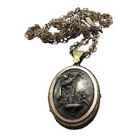 Edwardian Gold Plated Sterling Face Locket & Chain