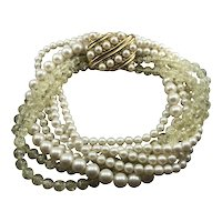 YSL Yves Saint Laurent Statement Multi Strands Pearl Necklace