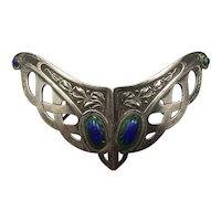 Large Art Nouveau silver plate cape or cloak buckle