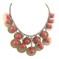 1930's Red Bakelite, Gold Disks and Brass Chain Necklace