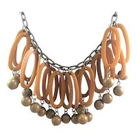 1940's Two Tone Bakelite Dangle Necklace