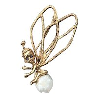 William Ruser 14k Gold Baroque Pearl Brooch Pin