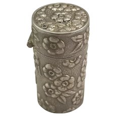 Sterling Repousse Thimble, Tread and Needle Case