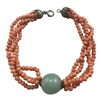 Coral Jade and Gilt Sterling Bracelet