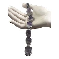 Chinese Carved Amethyst and Sterling Bracelet