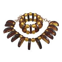 Bakelite Bib Necklace and Stretch Bracelet Set