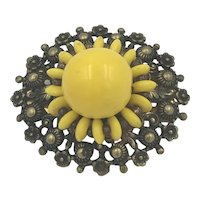 Early Brass and Yellow Glass Miriam Haskell Brooch