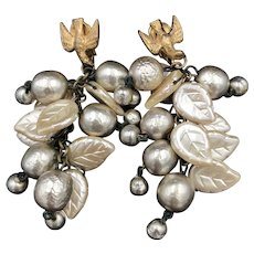 Rare  Signed Miriam Haskell Pearls Earrings with a Dove Top