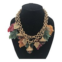 Fall Colors Leaf and Acorn Dangle Necklace