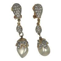 Kenneth Jay Lane Rhinestone and Faux Pearls Long Elegant Earrings